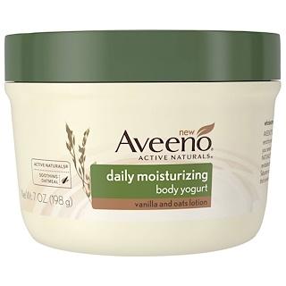 """Aveeno, """"Природные активные компоненты"""", увлажняющий йогурт для тела, для ежедневного использования, 7 жидких унций (198 г)"""