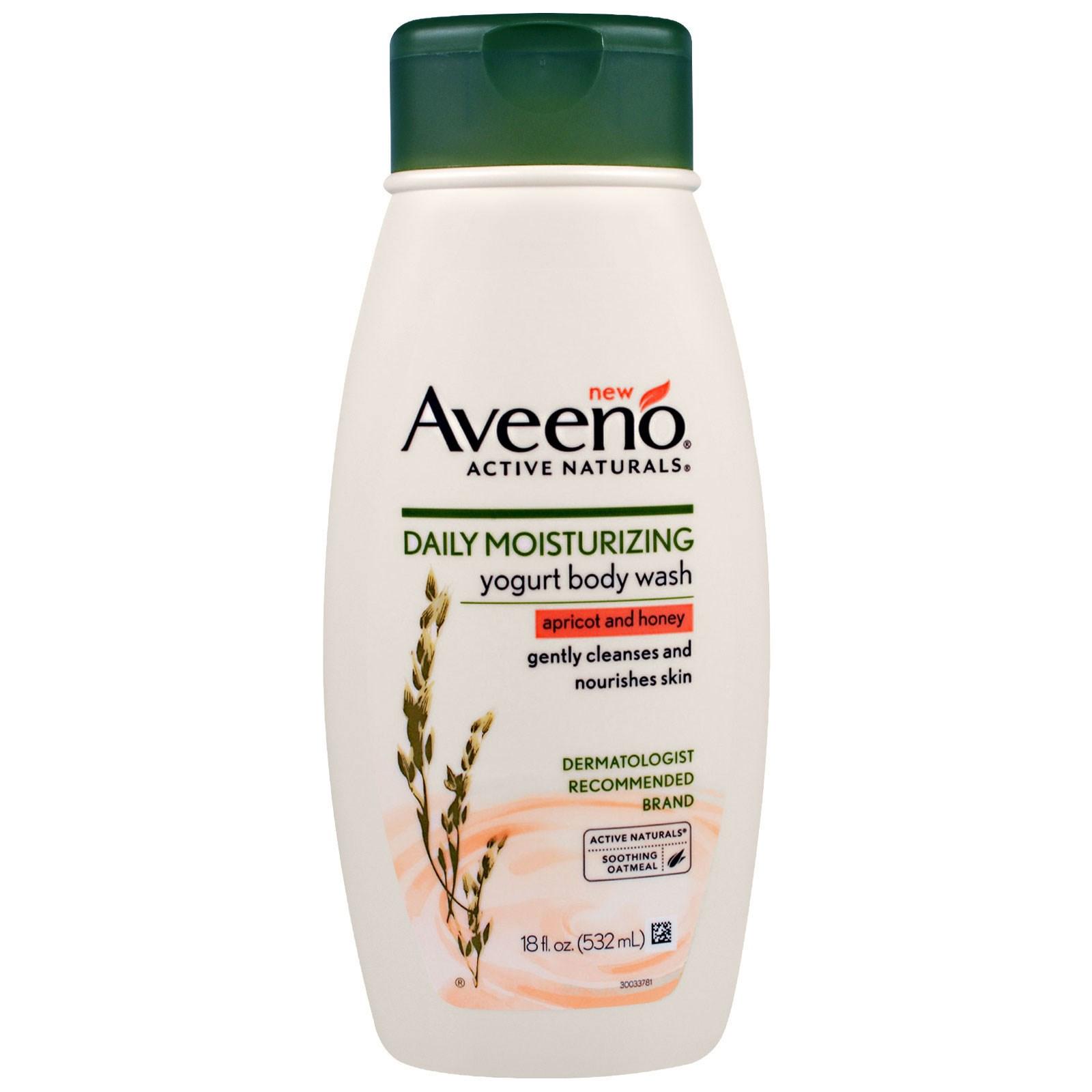 """Aveeno, """"Природные активные компоненты"""", увлажняющий гель для душа с йогуртом для ежедневного использования, абрикосово-медовый, 18 жидких унций (532 мл)"""
