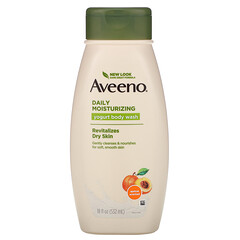 Aveeno, 活性天然,日常保濕優酪乳沐浴露,杏和蜂蜜,18液量盎司(532毫升)