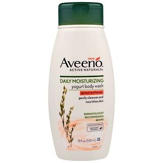 Aveeno, Activos naturales, Limpiador corporal hidratante diario de yogur, albaricoque y miel, 18 fl. Oz (532 ml)