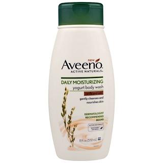 Aveeno, Activos naturales, Limpiador corporal hidratante diario de yogur, vainilla y avena, 18 fl. Oz (532 ml)