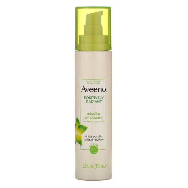 Aveeno, Positively Radiant, limpiador en gel micelar, 5.1 ozlíq. (150 ml)