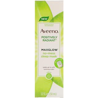 Aveeno, Positively Radiant, MaxGlow No-Mess Sleep Mask, 1.7 fl oz (50 ml)
