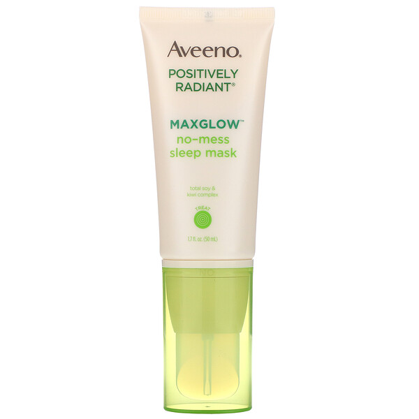 Aveeno, Positively Radiant, MaxGlow No-Mess Sleep Mask, 1.7 fl oz (50 ml) (Discontinued Item)