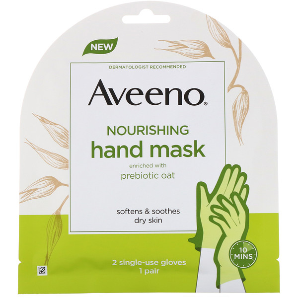 Aveeno, Nourishing Hand Mask, 2 Single-Use Gloves (Discontinued Item)