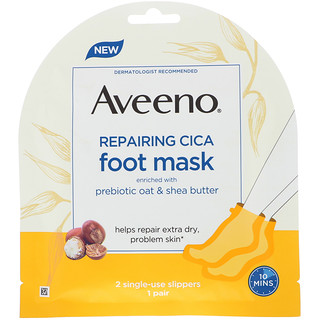 Aveeno, Repairing Cica Foot Mask, 2 Single-Use Slippers