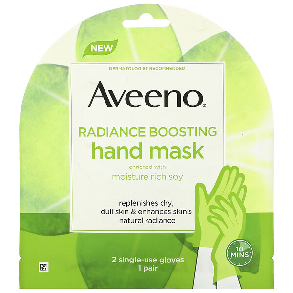 Aveeno, Radiance Boosting Hand Mask, 2 Single-Use Gloves (Discontinued Item)