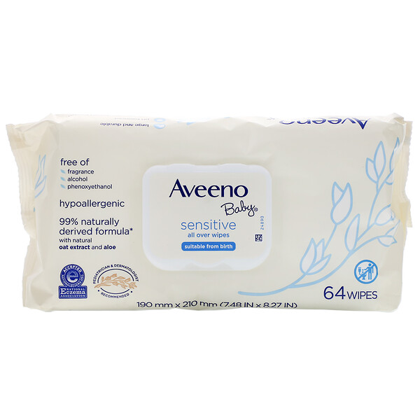 Aveeno, Baby, Sensitive, All Over Wipes,  64 Wipes