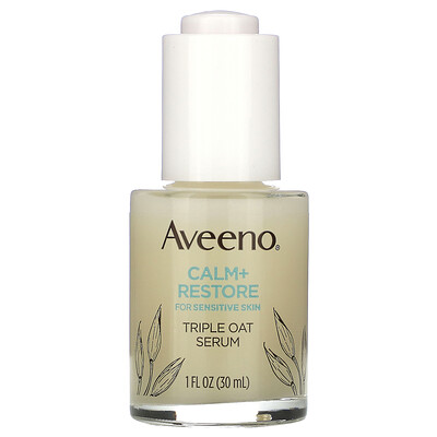 Aveeno Calm + Restore For Sensitive Skin, Triple Oat Serum, 1 fl oz (30 ml)  - купить со скидкой