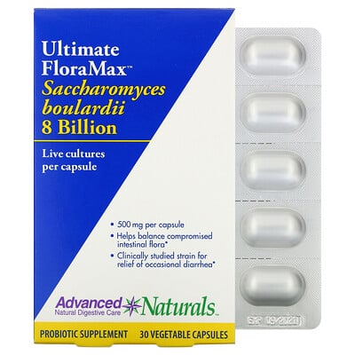 Купить Advanced Naturals Ultimate FloraMax, Saccharomyces Boulardii, 8 Billion, 30 Vegetable Capsules