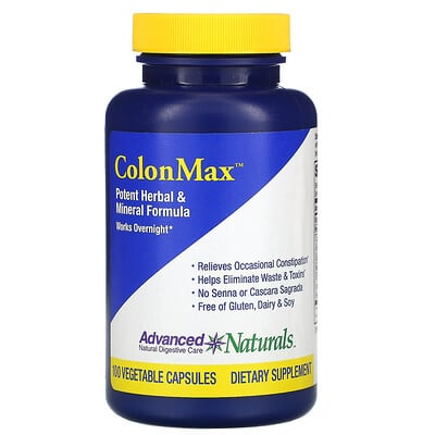 Купить Advanced Naturals Colon Max, Potent Herbal & Mineral Formula, 100 Vegetable Capsules