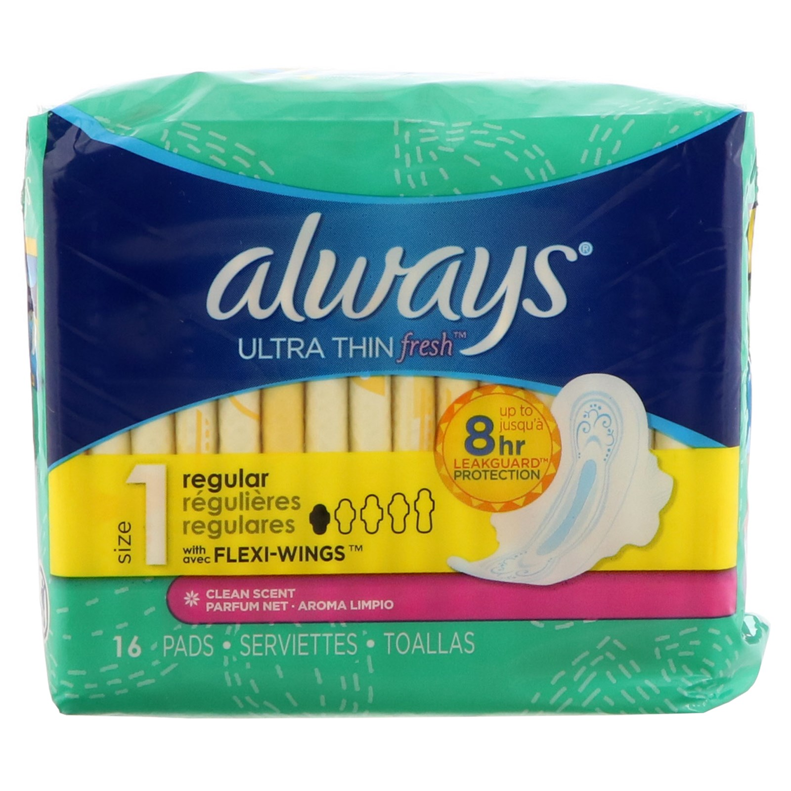 Always, Fresh Ultra Regular with Wings, Size 1, Regular , 16 Pads