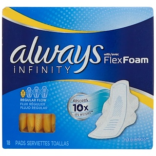 Always,  Infinity Flex Foam with Wings, Regular, 18 Pads