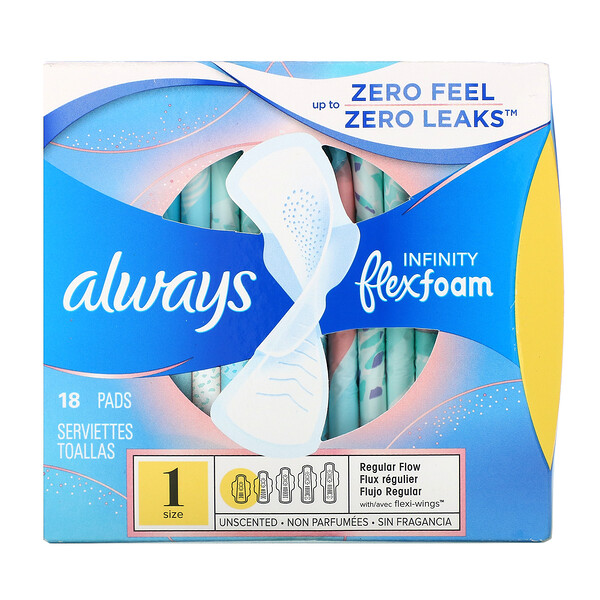 Always, Espuma flexible Infinity con alas, regular, 18 toallas