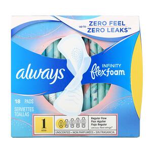 Always, Infinity Flex Foam with Wings, Size 1, Regular Flow, Unscented, 18 Pads отзывы