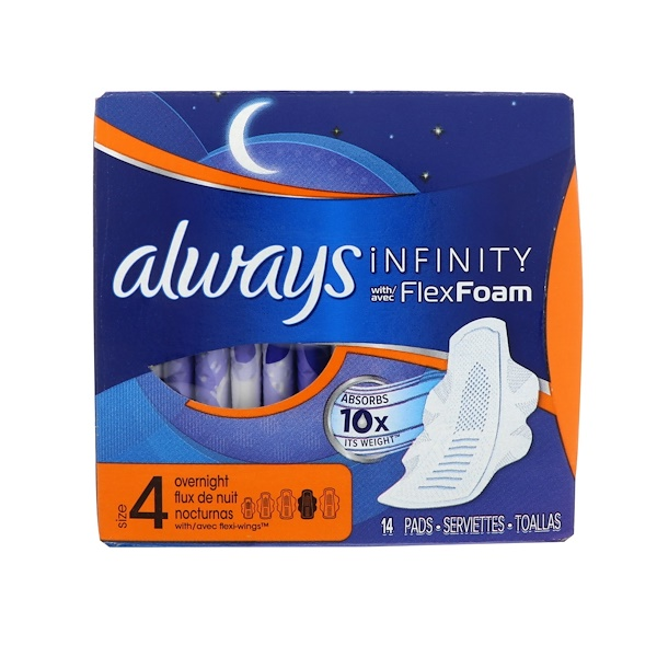 Always, Infinity Flex Foam with Wings, Size 4, Overnight, 14 Pads (Discontinued Item)