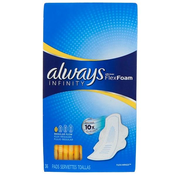 Always, Infinity, гибкие прокладки с крылышками, нормальный поток, 36 прокладок (Discontinued Item)
