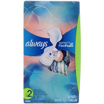 Always Infinity Flex Foam with Flexi-Wings, размер 2, для впитывания увеличенного количества жидкости, без запаха, 32 прокладки  - купить со скидкой