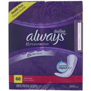 Always, Xtra Protection Dailies, Extra Long, 68 Liners