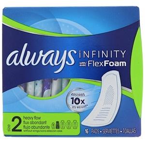 Always, Infinity Flex Foam, Size 2, Heavy Flow, 16 Pads