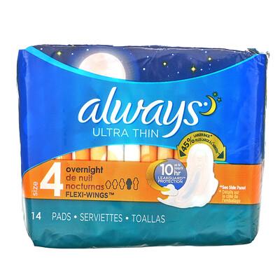 Купить Always Ультратонкие с крылышками, размер 4, ночные, 14 прокладок