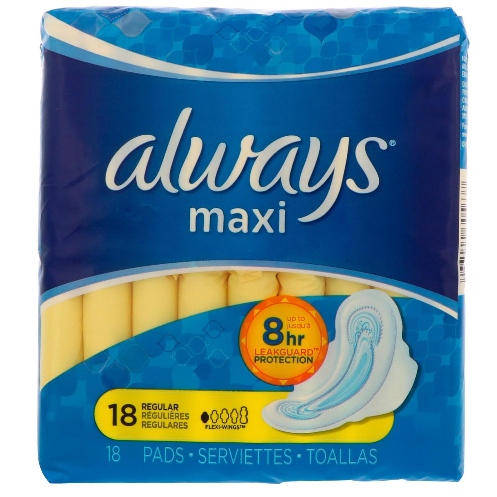 Always, Макси с крылышками, обычные, 18 прокладок