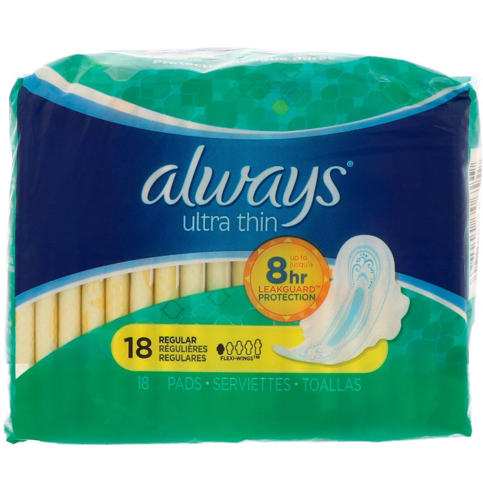 Always, Ультратонкие с крылышками, обычные, 18 прокладок