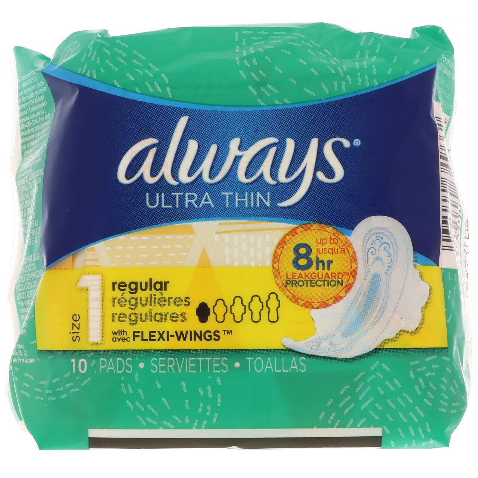 Always, Ультра-тонкие с крылышками, размер 1, для регулярных выделений, 10 прокладок