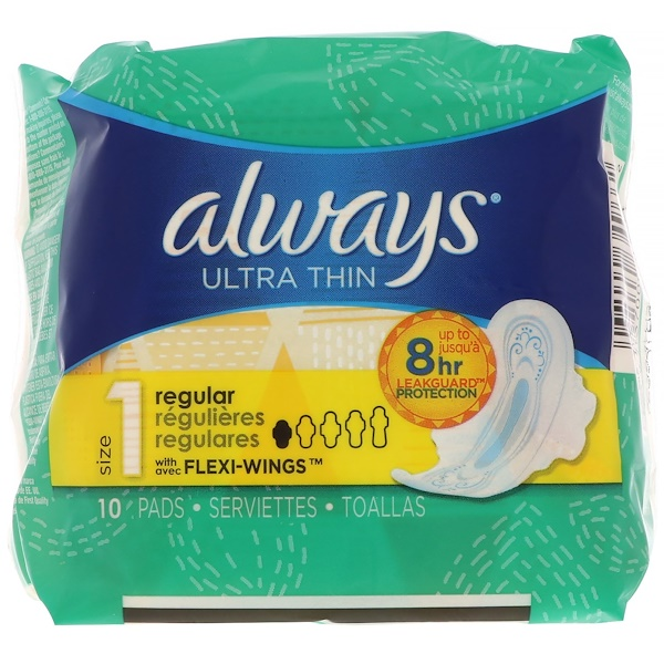 Always, Ultra Thin with Wings, Size 1, Regular, 10 Pads