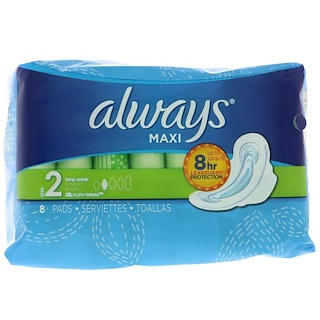 Always, Maxi with Wings, Size 2, Long Super, 8 Pads