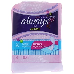 Always, Thin Active Dailies, Regular, Clean Scent, 20 Liners отзывы