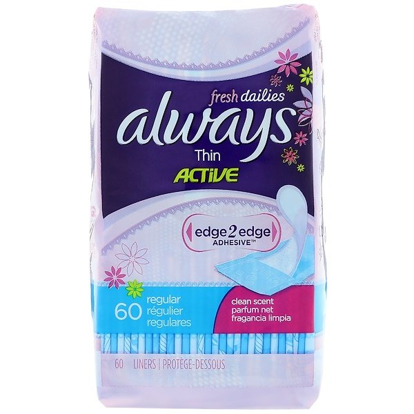 Always, Thin Active Dailies, Regular, Clean Scent, 60 Liners (Discontinued Item)
