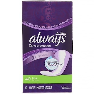 Always, Xtra Protection Dailies, Long, 40 Liners