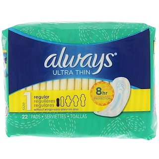 Always, Ultra Thin, Size 1, Regular, 22 Pads