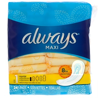 Always, Maxi, Size 1, Regular, 24 Pads