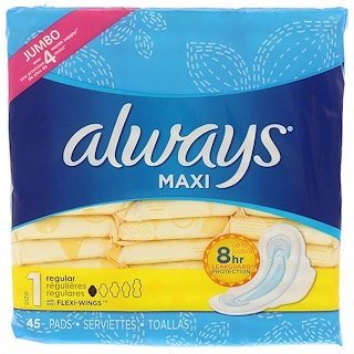Always, Maxi with Wings, Size 1, Regular, 45 Pads