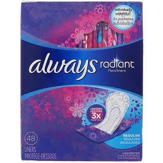 Always, Radiant Pantiliners, Regular, Unscented, 48 Liners