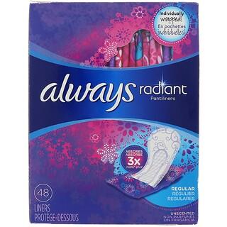 Always, ラディアント パンティーライナー、レギュラー、無香、ライナー48枚