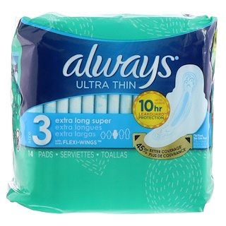 Always, Ultra Thin, Extra Long, 14 Pads