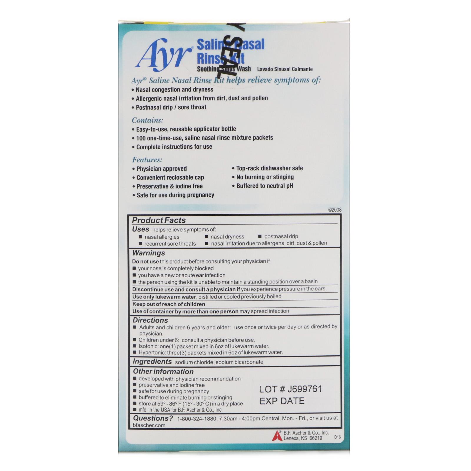 Ayr All Natural Saline Nasal Rinse Kit 1 Kit Iherb