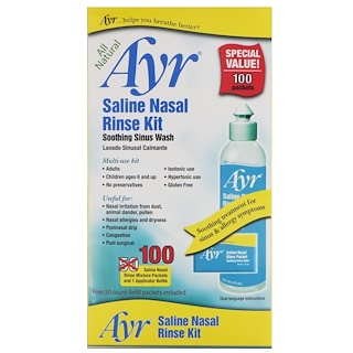 AYR, Kit para Enxágue Nasal Salino Natural, 1 Kit