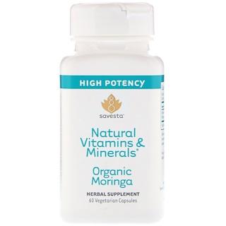 Savesta, 天然ビタミン & ミネラル、オーガニックモリンガ、植物性カプセル60粒