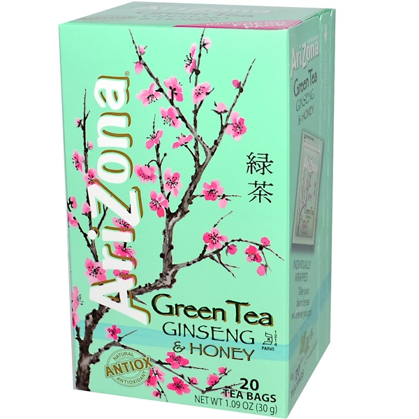 AriZona, Green Tea, Ginseng & Honey, 20 Tea Bags, 1.09 oz (30 g) (Discontinued Item)