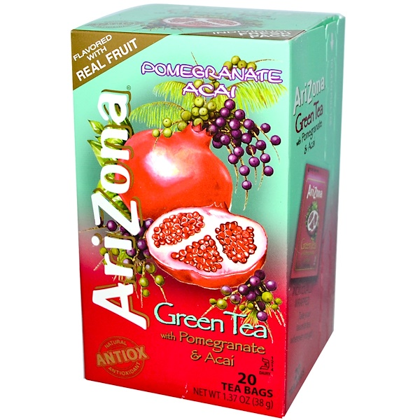 AriZona, Green Tea, with Pomegranate & Acai, 20 Tea Bags, 1.37 oz (38 g) (Discontinued Item)
