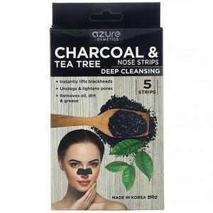 Azure Kosmetics, Charcoal & Tea Tree, Nose Strips, Deep Cleansing, 5 Strips отзывы