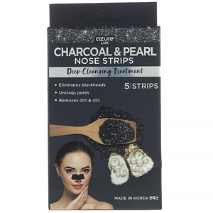 Azure Kosmetics, Charcoal & Pearl, Nose Strips, Deep Cleansing Treatment, 5 Strips отзывы