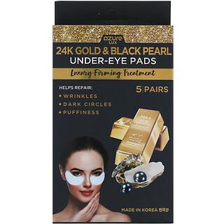 Azure Kosmetics, Oro 24K y perla negra, Almohadillas para la zona debajo de los ojos, Tratamiento reafirmante de lujo, 5pares