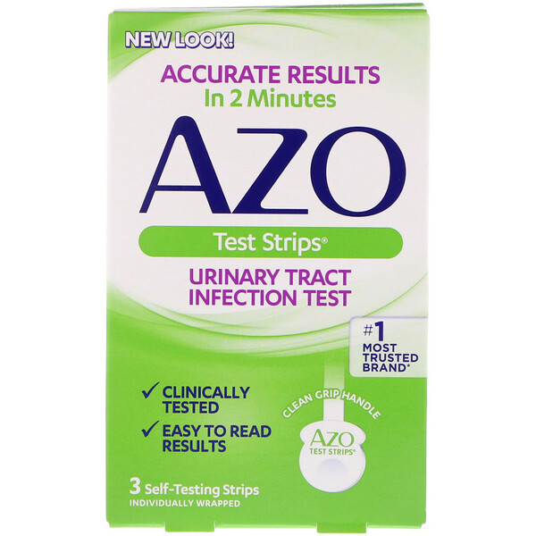Azo, Urinary Tract Infection Test Strips, 3 Self-Testing Strips