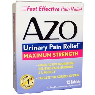 Azo, Urinary Pain Relief, Maximum Strength, 12 Tablets (97.5 mg)