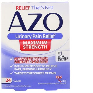Azo, Urinary Pain Relief, Maximum Strength, 24 Tablets